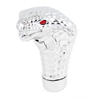 Red Eyes Silver Tone Cobra Style Gear Shift Knob Cover for Automobile Car