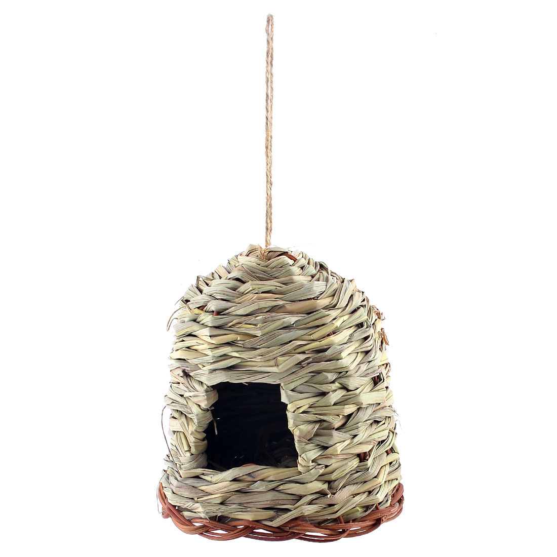 16cm Dia Base Hanging Grass Braided Bird Living Home House Artificial Nest Cage