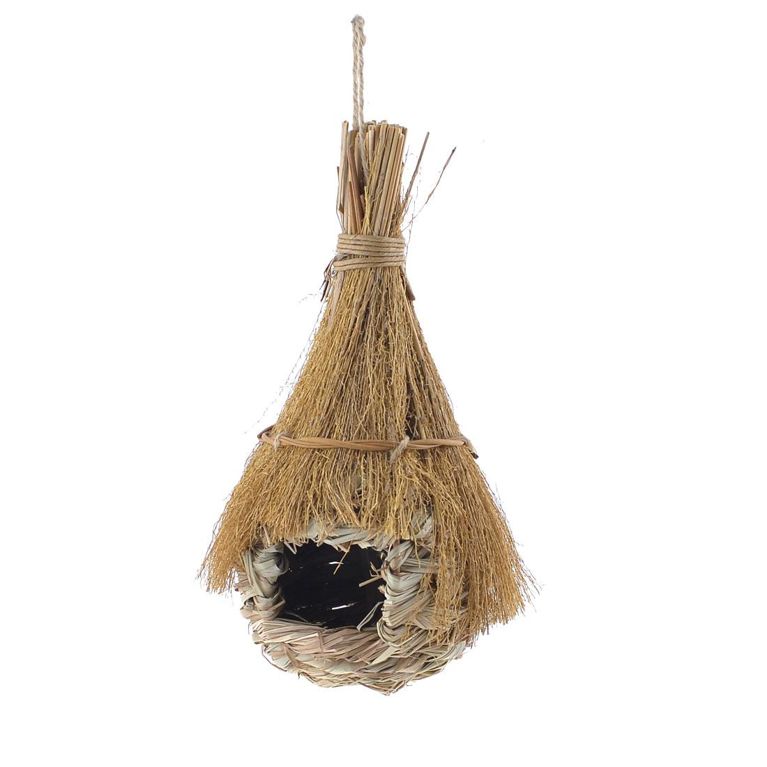 """9.8"""" Garden Ornament Tree Hanging Woven Wicker Bird Living Nest Artificial House"""