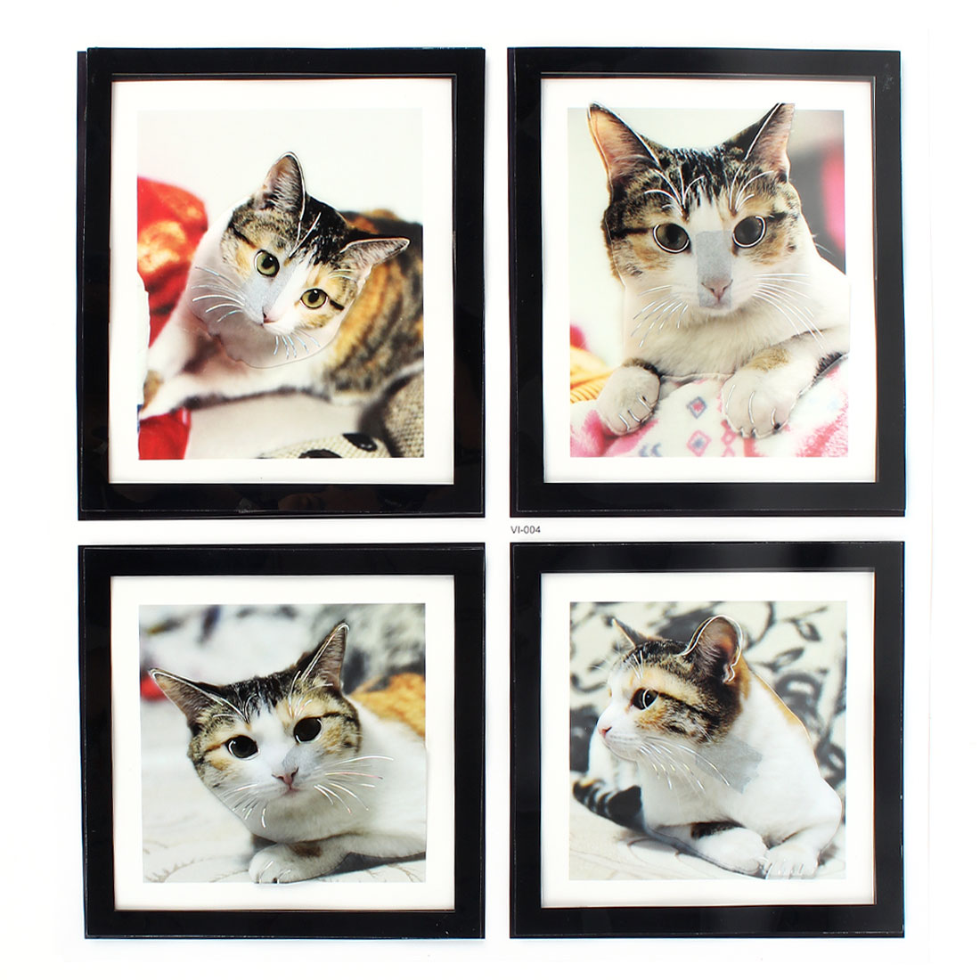 Home Living Room Decor 4 in 1 Cat Pictures 3D Wall Stickers Set Decal