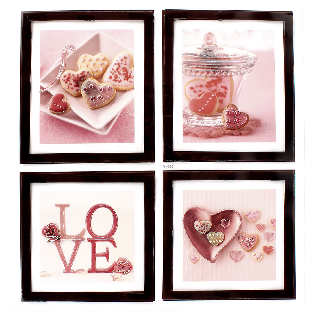 Home Living Room Decor 4 in 1 LOVE Heart Pictures 3D Wall Stickers Decal