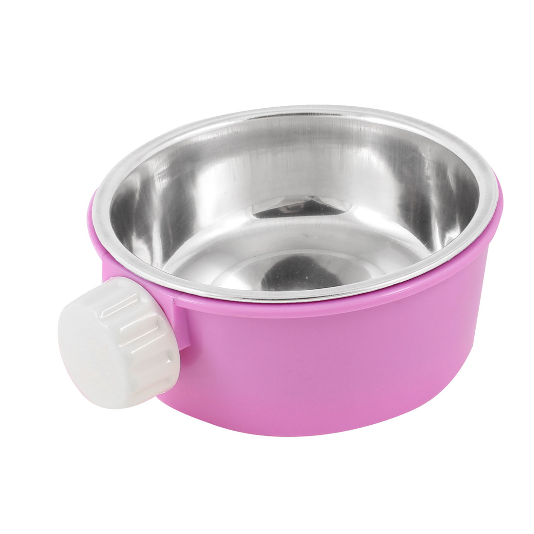 Round Food Water Feeder Fixed Bowl Dish Light Purple 2 in 1 for Cage Pet Cat