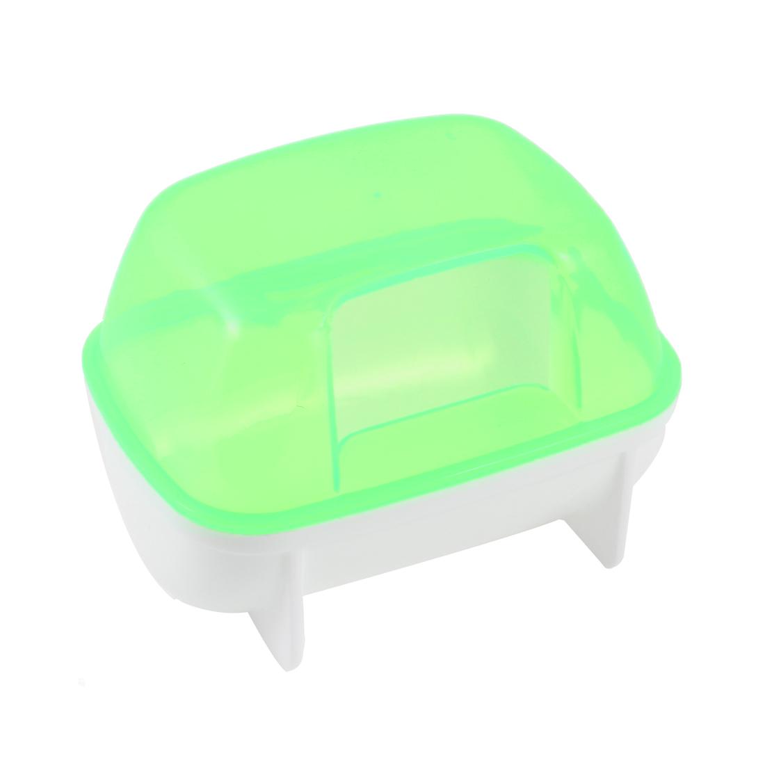 Plastic Small Animal Sand Room Pet Hamster Bathing Bathroom Green White 10x7x7cm
