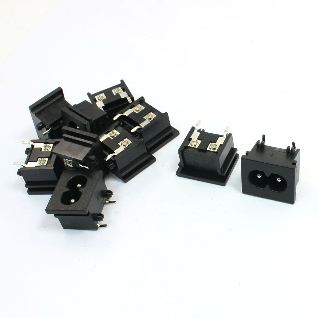 10Pcs Black Plastic PCB Board IEC320 Inlet C8 Power Adapter AC 250V 2.5A