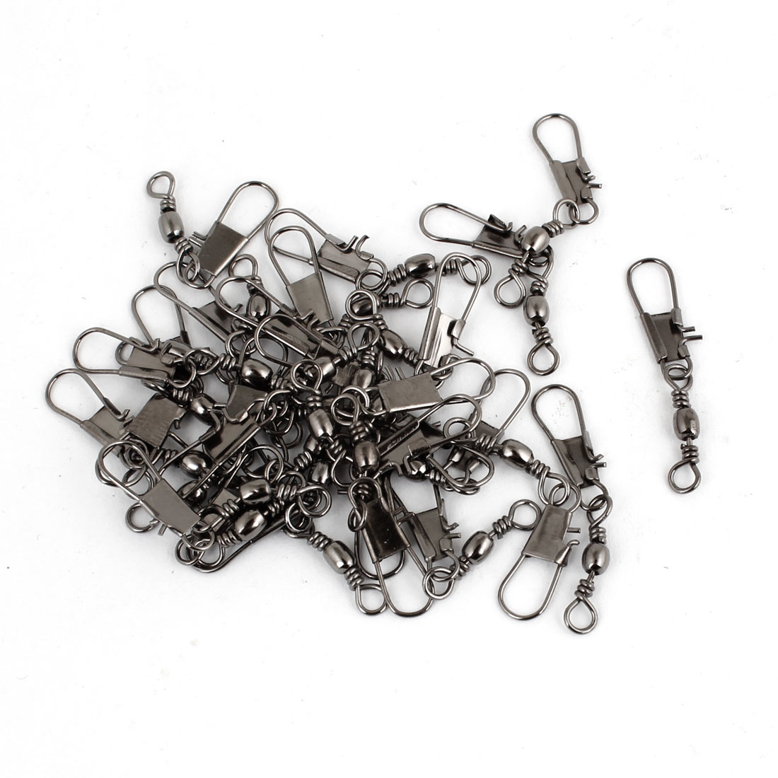 27 x 4mm Gray Fishing Rolling Barrel Swivel Interlock Clips Connector 30pcs