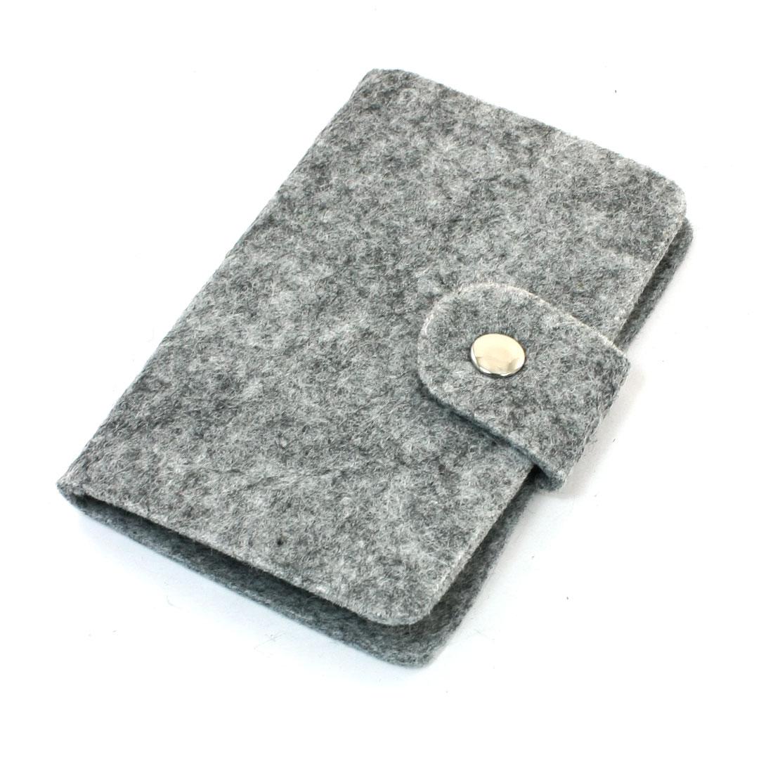 Press Stud 12 Pockets Felt ID Business Card Case Organizer Gray