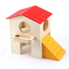 Red Yellow Hamster Wooden Double Layer Pet Small Animal House w Catladder