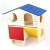 Blue Yellow Pet Hamster Dual Layers Wooden Log-cabin w Terrace Catladder