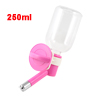 250ml Pet Doggie Cat Dog Hanging Fountain Bottle Water Feeder Fuchsia Clear