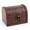 Wooden Vintage Style Antique Flower Printed Buckle Jewelry Container Storage Box