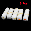 "5 Pcs 4.3x1.2"" Yellow Stripes White Plush Floor Paint Roller Brushes"
