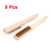 "5 Pcs Wooden Handle Cleaning Brakes Rust Brass Wire Brushes 8.8""x1.1"""