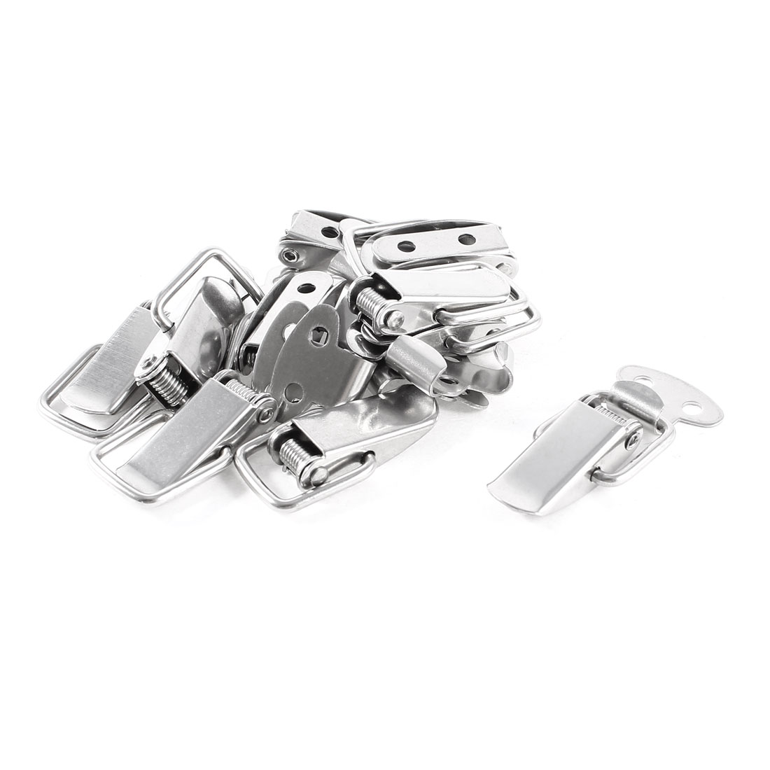 10 Set 4.5cm Long Metal Spring Loaded Silver Tone Toggle Drawer Latch