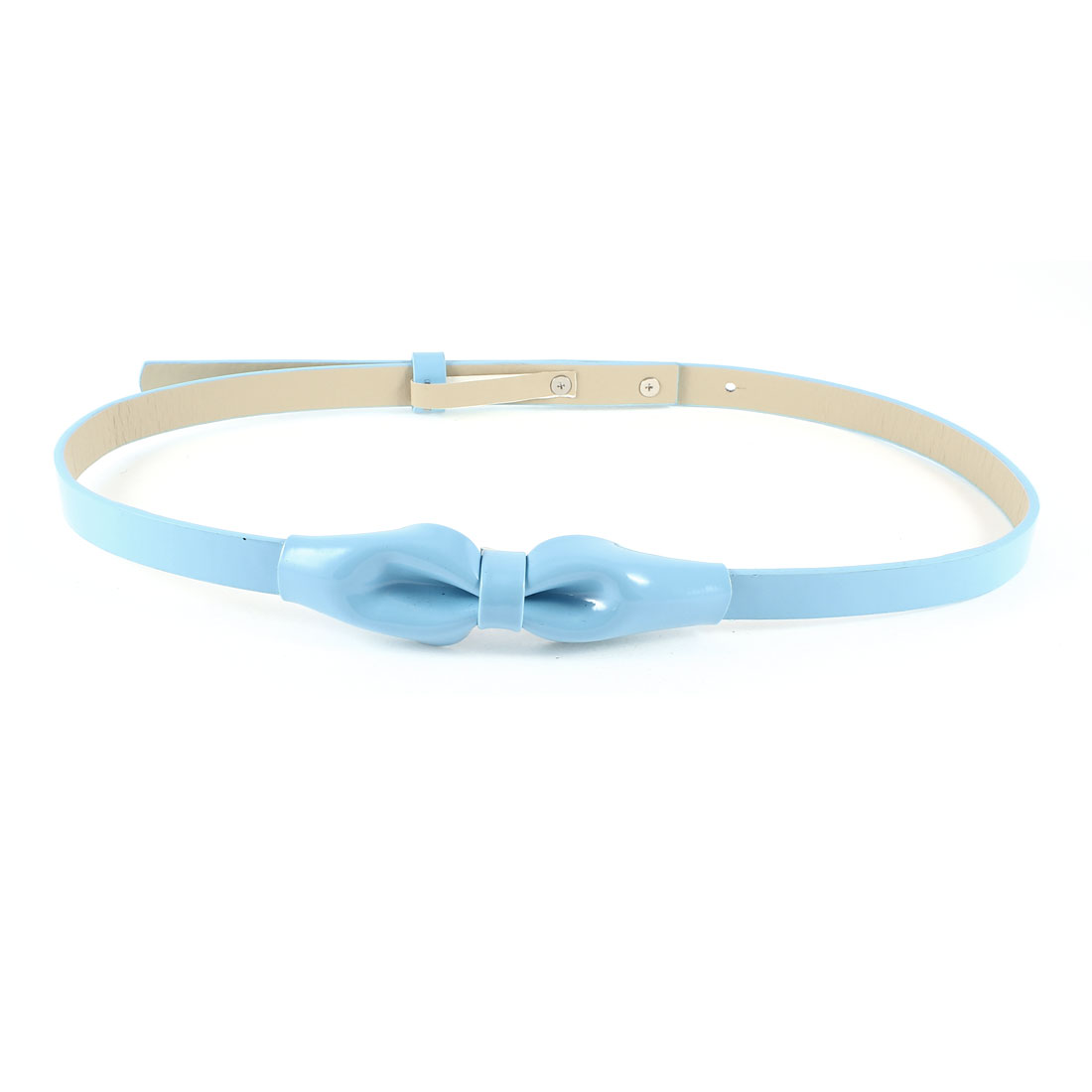 Lady Press Button 5 Hole Faux Leather Adjustable Slim Belt Light Blue
