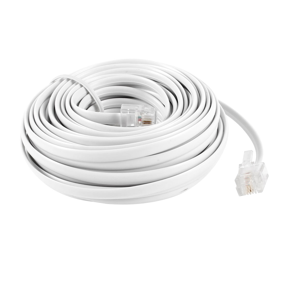 RJ11 6P2C Modular Telephone Phone Cables Wire Cord Line White 9M 30ft