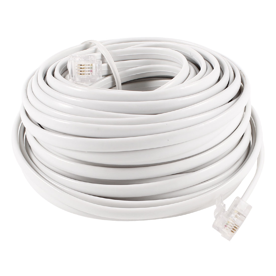15M 49ft RJ11 6P4C Modular Telephone Phone Cables Cords White