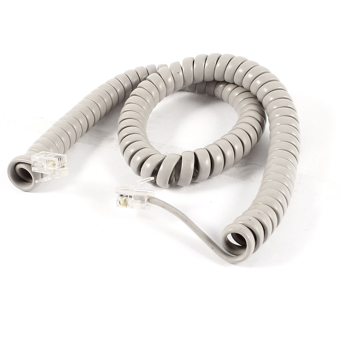 10ft RJ9 4P4C Coiled Elastic Telephone Handsets Cable Line Gray