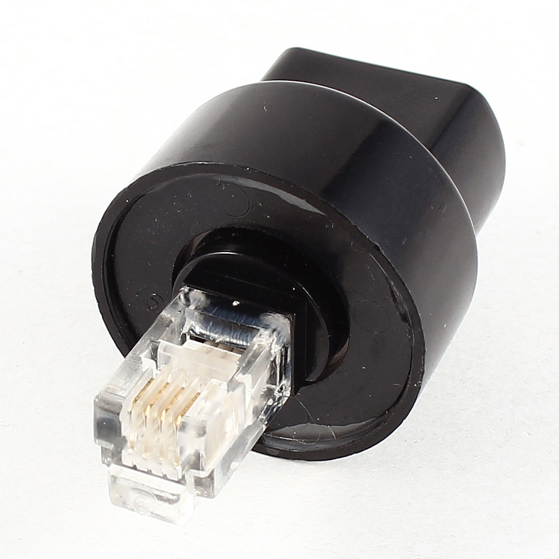 Black Rotatable RJ9 4P4C Male to Female Telephone Connector Adapter