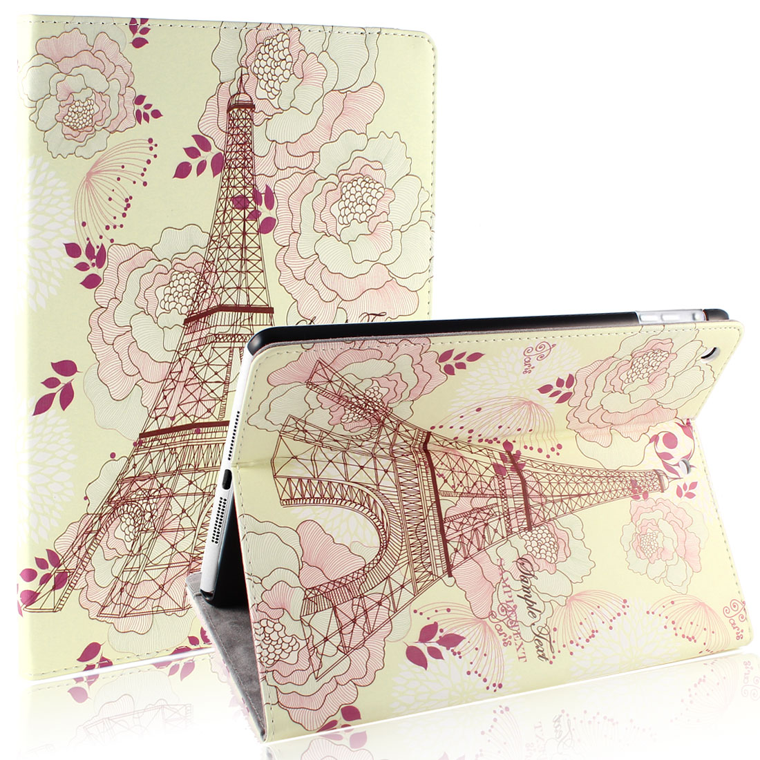 Beige Eiffel Tower Smart Wake/Sleep PU Leather Case Cover for iPad Air 5 5th Gen