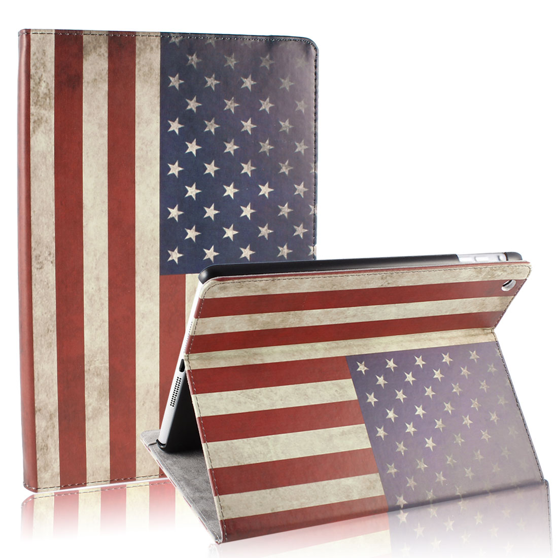 Retro Style US Flag Smart Wake/Sleep Stand Case Cover for iPad Mini 1 2