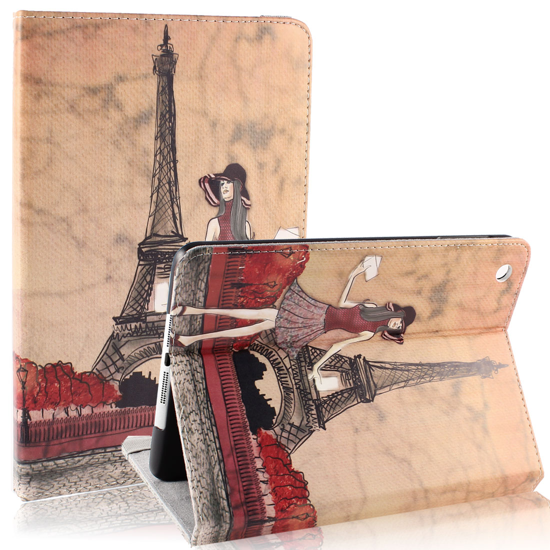 Eiffel Tower Pale Pink Smart Sleep Wake-up Flip Folio Case for iPad Mini 1 2