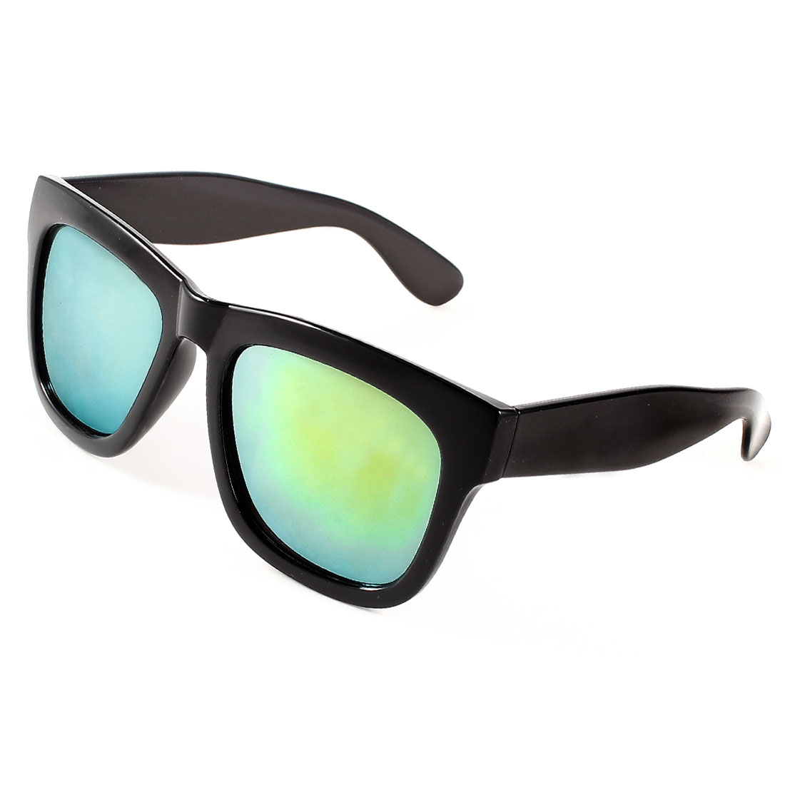 Black Plastic Full Rim Square Design Green Lens Sunglasses for Lady