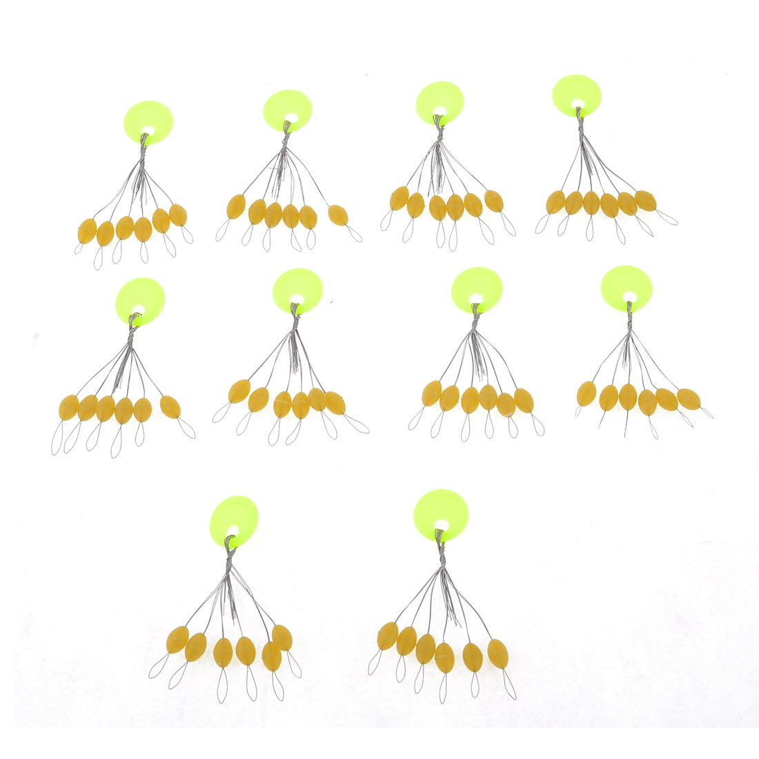 10 Pcs Fishing 6 in 1 Tan Color Plastic Oval Fish Bobber 10mm x 6mm
