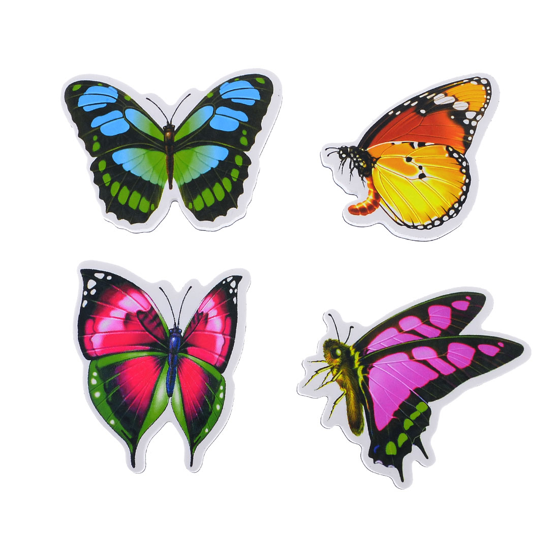 Refrigerator Colorfull Foam Butterfly Design Magnetic Sticker 4 Pcs