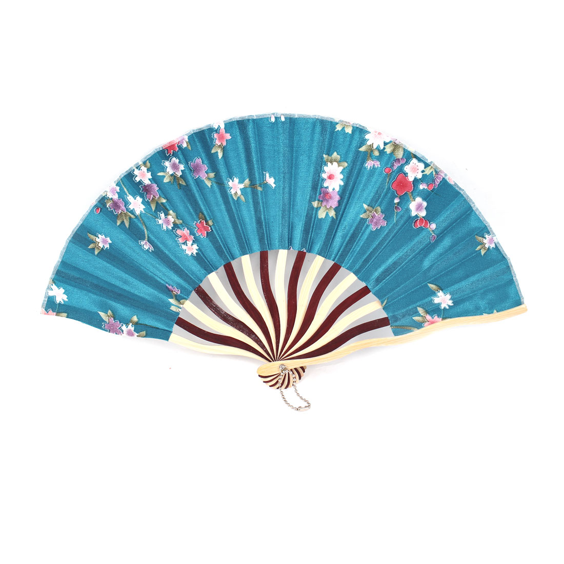 "Ornament Plum Bblossom Pattern Bamboo Folding Hand Fan 14.1"" Unfolded Width"