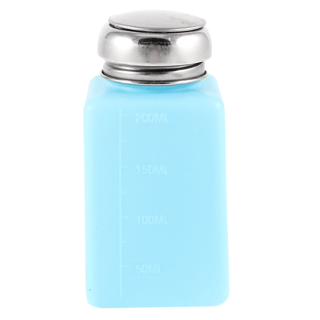 Silver Tone Metal Cover 200ml Plastic Liquid Storage Alcohol Bottle Cyan