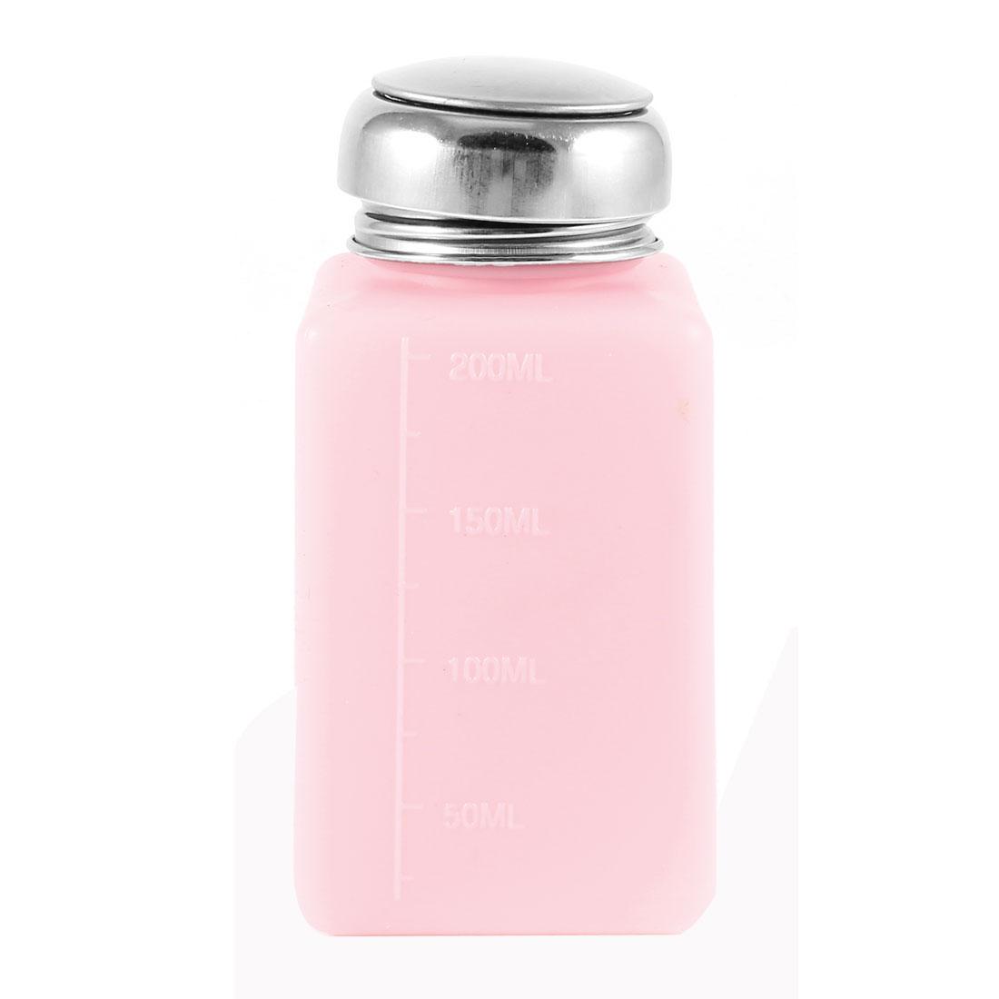 Silver Tone Metal Lid 200ml Plastic Liquid Storage Alcohol Bottle Pink
