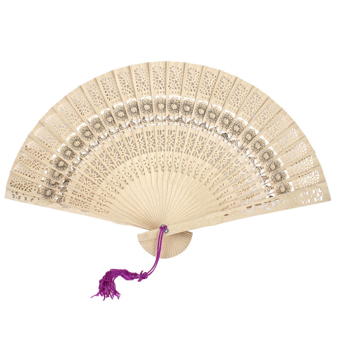 Purple Tassel Wooden Hollow Out Design Beige Foldable Hand Fan