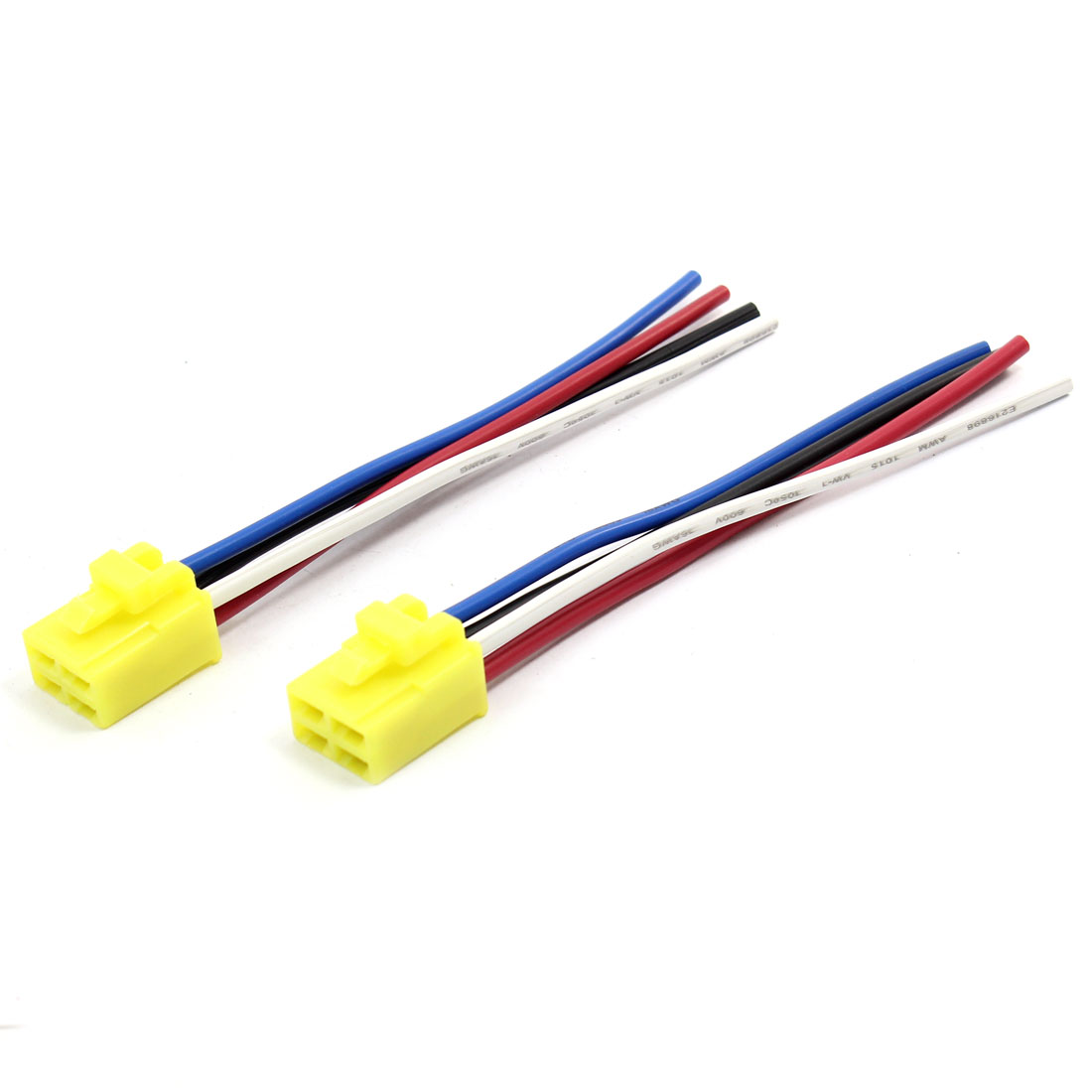 2 Pcs Yellow Base Coil DC 12V 4 Pin Wire Car Relay Socket Connector