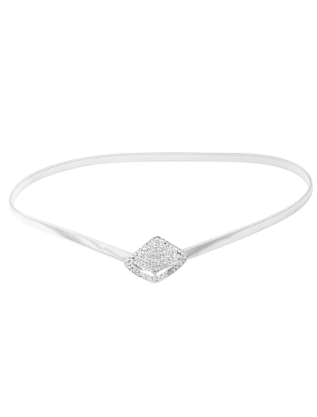Silver Tone Rhinestone Accent Stretch Waist Belt for Women