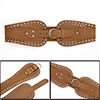 Woman Light Brown Faux Leather Stud Decor Hollow Out Waist Belt Waistband