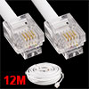 12M 39ft RJ11 6P4C Telephone Extension Cable Connector White