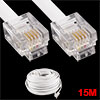 15M 49ft RJ11 6P4C Modular Telephone Phone Cables Wire White