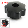 6mm Female Thread 40mm Dia Black Star Head Clamping Knob 2 Pcs