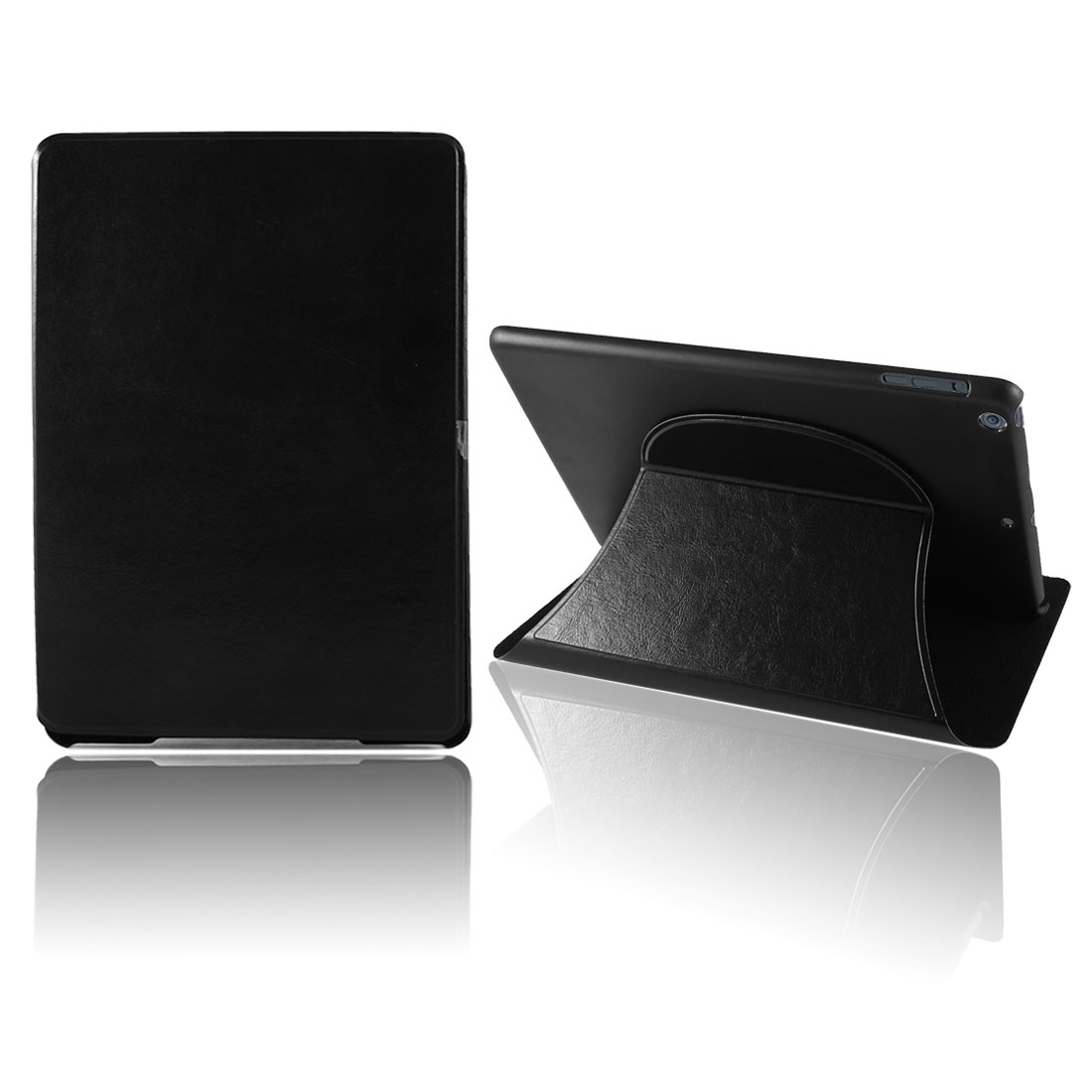 Black PU Leather Plastic Flip Folio Tablet Case Cover for iPad Air 5 5th