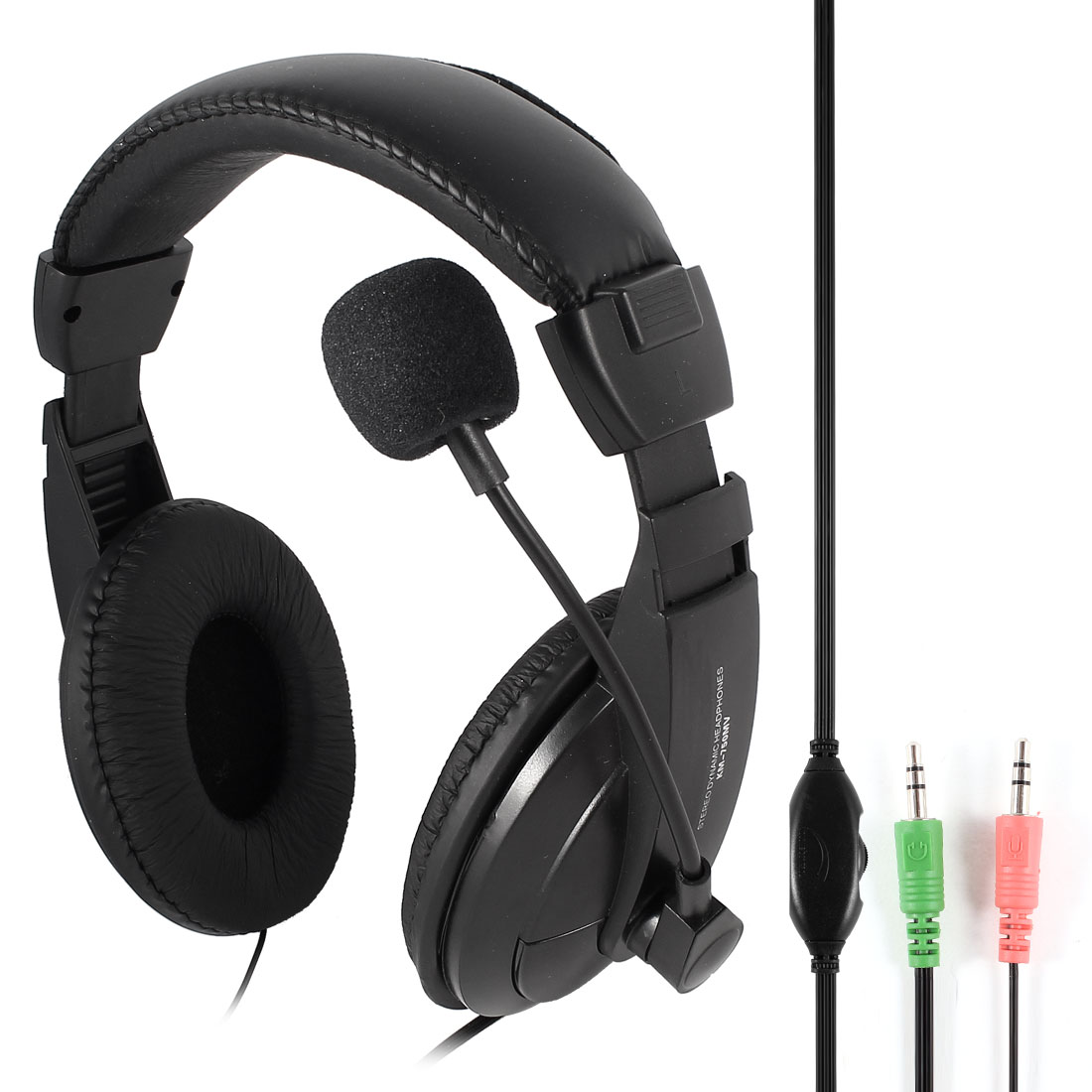Black Adjustable Headband 3.5mm Stereo Dynamic Headphone w Mic for PC Gaming