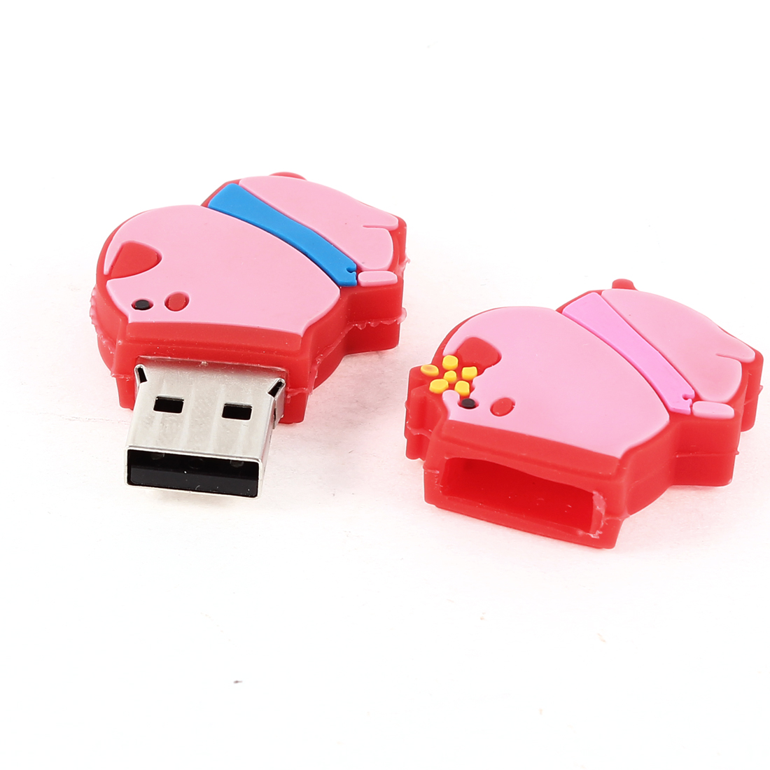 Pink Red Rubber Pig Cover USB 2.0 Flash Drive Memory Disk Storage 4GB