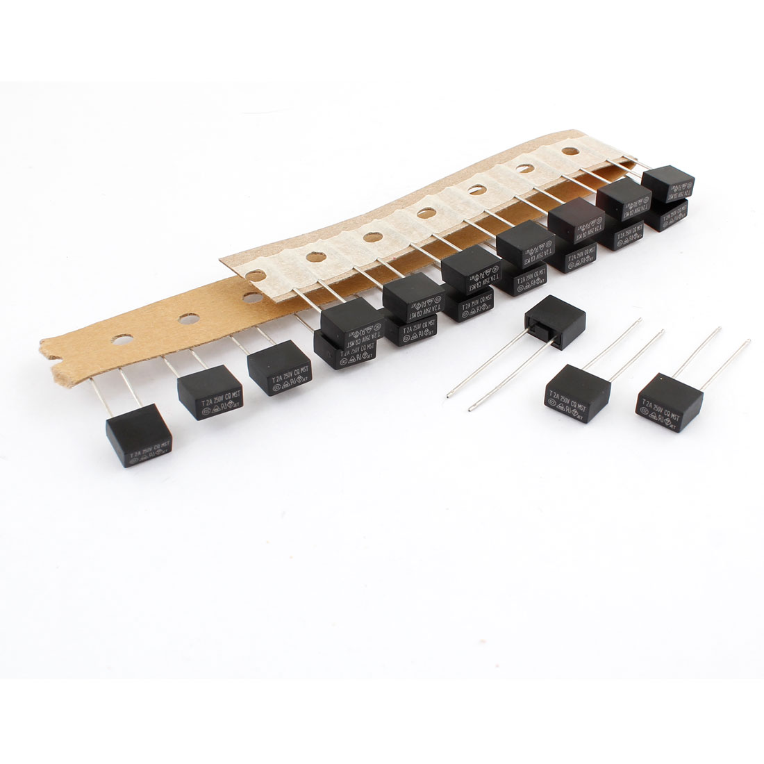 20 Pcs 250V 2A Radial Leads Slow Blow Type DIP Square Micro Fuses