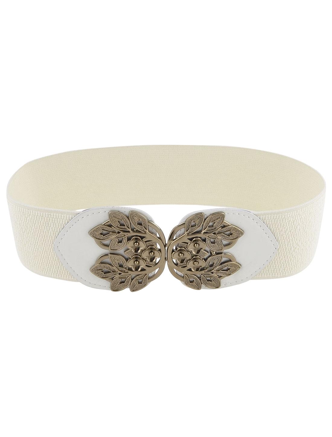 Women Flower Shape Interlocking Buckle Elastic Cinch Waist Belt White