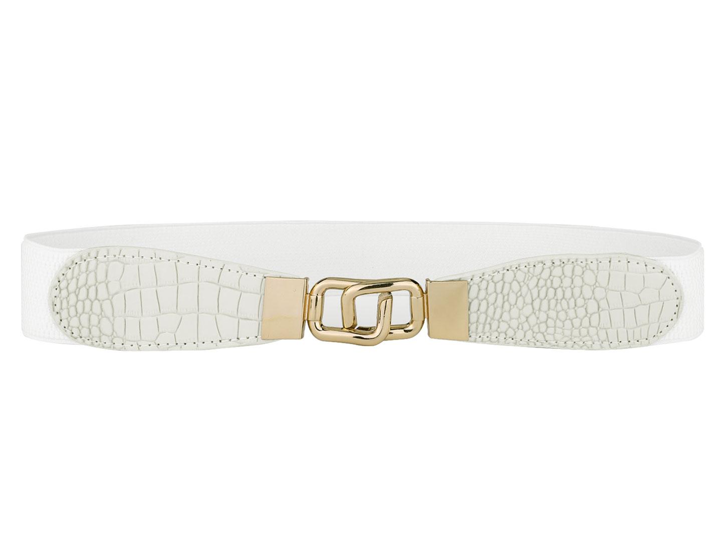 Ladies Interlocking Buckle Alligator Pattern Elastic Cinch Waist Belt White