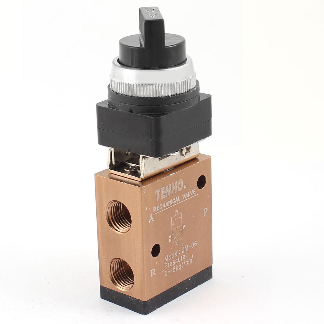 "1/4"" PT 2 Position 3 Way Locking Button Air Pneumatic Mechanical Valve JM-06"