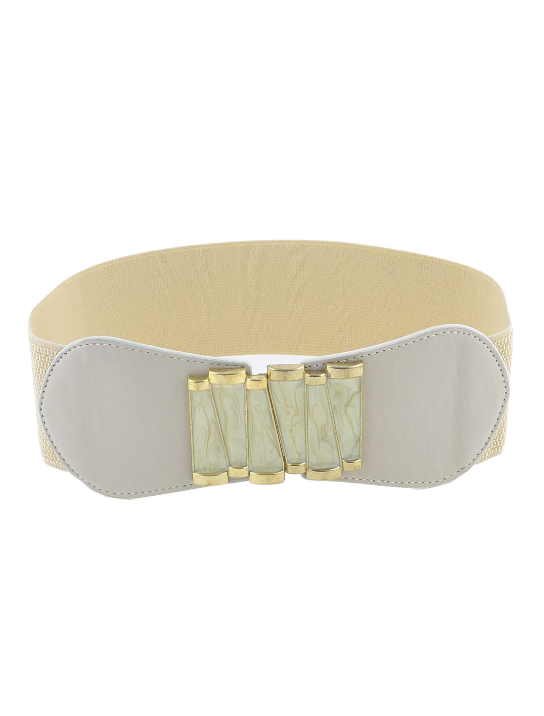 Ladies Swirl Flourish Pattern Metal Interlock Buckle Elastic Waist Belt Beige