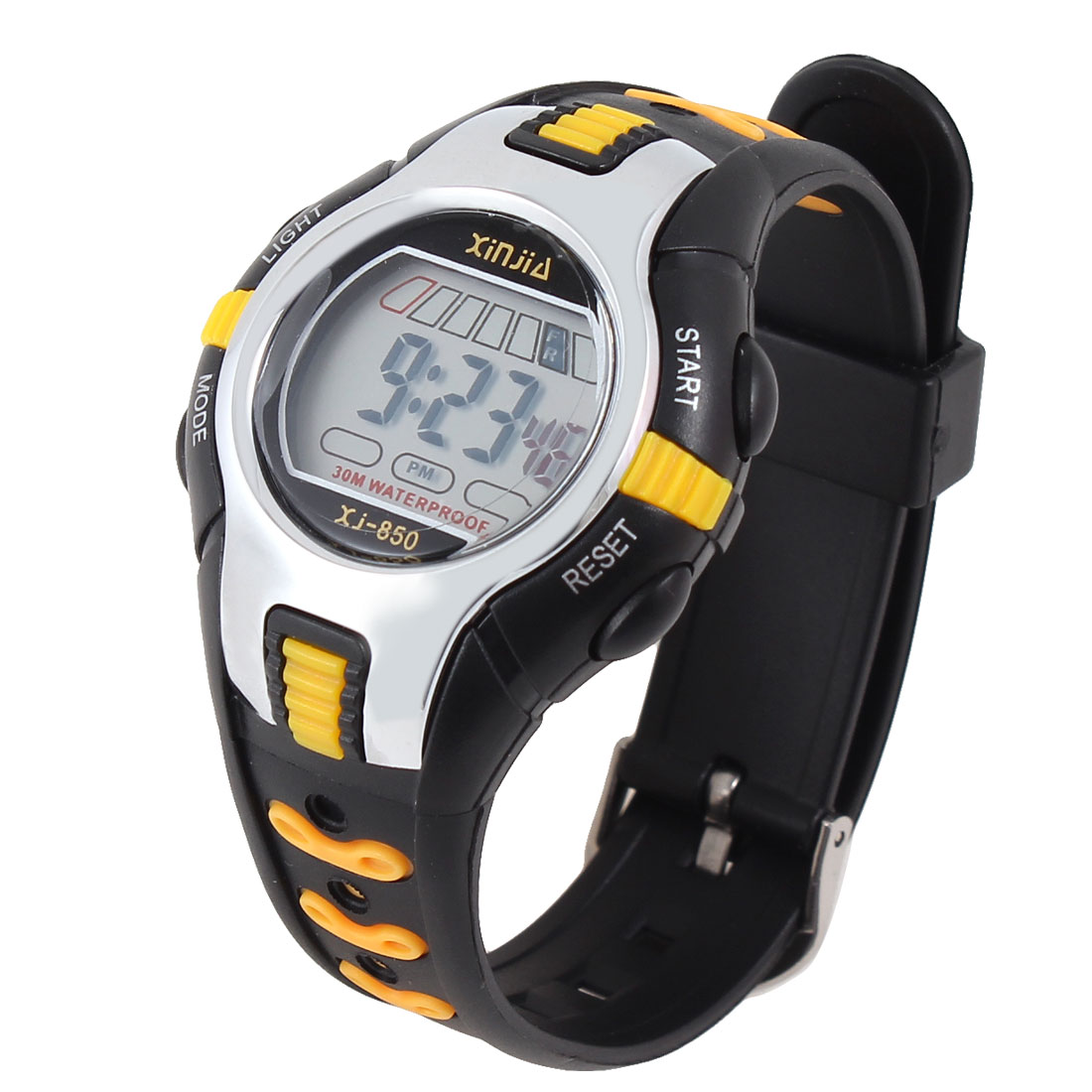 Black Orange Stopwatch Stage Timekeeping Snooze Function Sports Watch