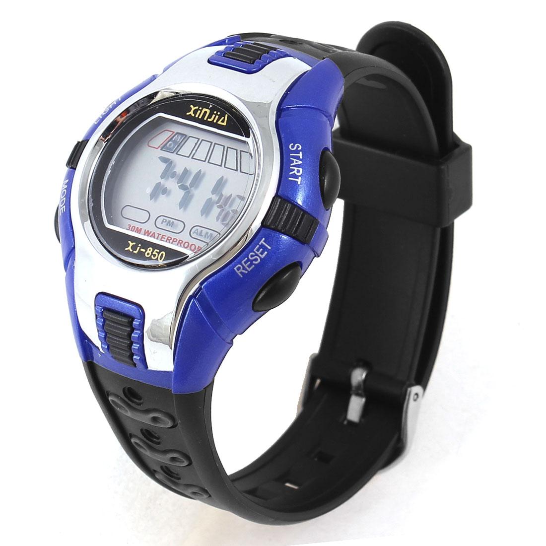 Children Black Blue Round Dial Water Resistant Alarm Digital Sports Watch