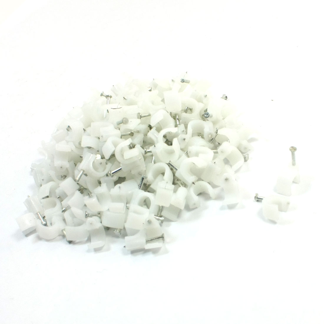 350Pcs 7mm Dia White Plastic Electric Cable Wire Circle Nail Clips