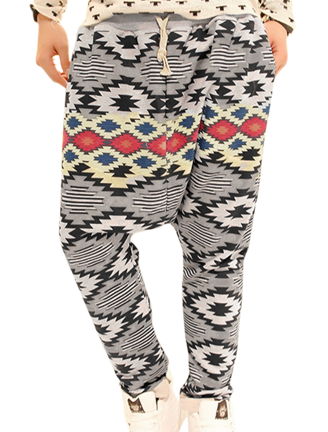 Men Elastic Waist Geometric Prints Multicolor Harem Pants W27